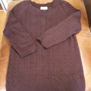 Loft cotton cable CREWNECK sweater M
